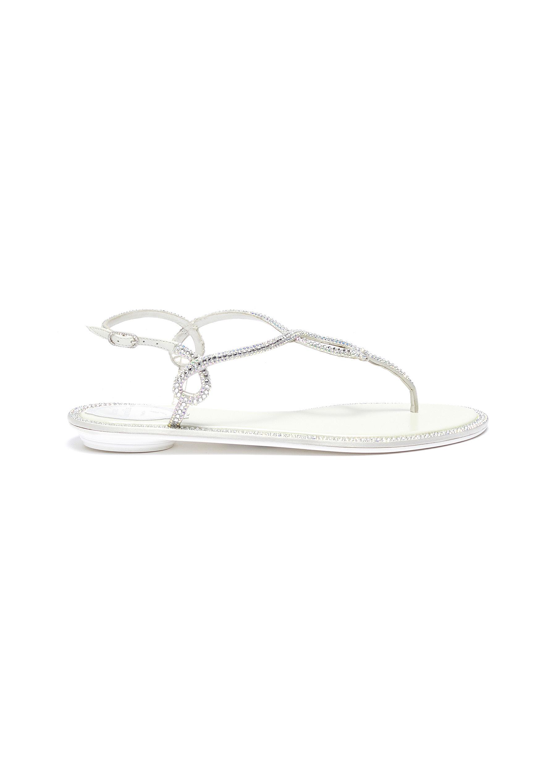 Strass satin thong sandals by René Caovilla
