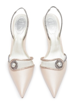 Detail View - Click To Enlarge - RENÉ CAOVILLA - 'Spilla' faux pearl strass satin slingback pumps