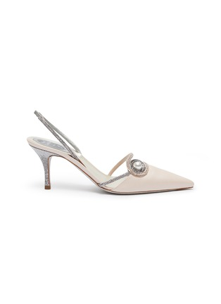 Main View - Click To Enlarge - RENÉ CAOVILLA - 'Spilla' faux pearl strass satin slingback pumps