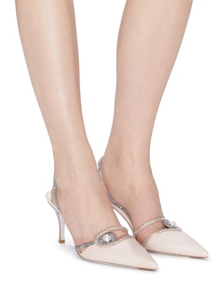 Figure View - Click To Enlarge - RENÉ CAOVILLA - 'Spilla' faux pearl strass satin slingback pumps