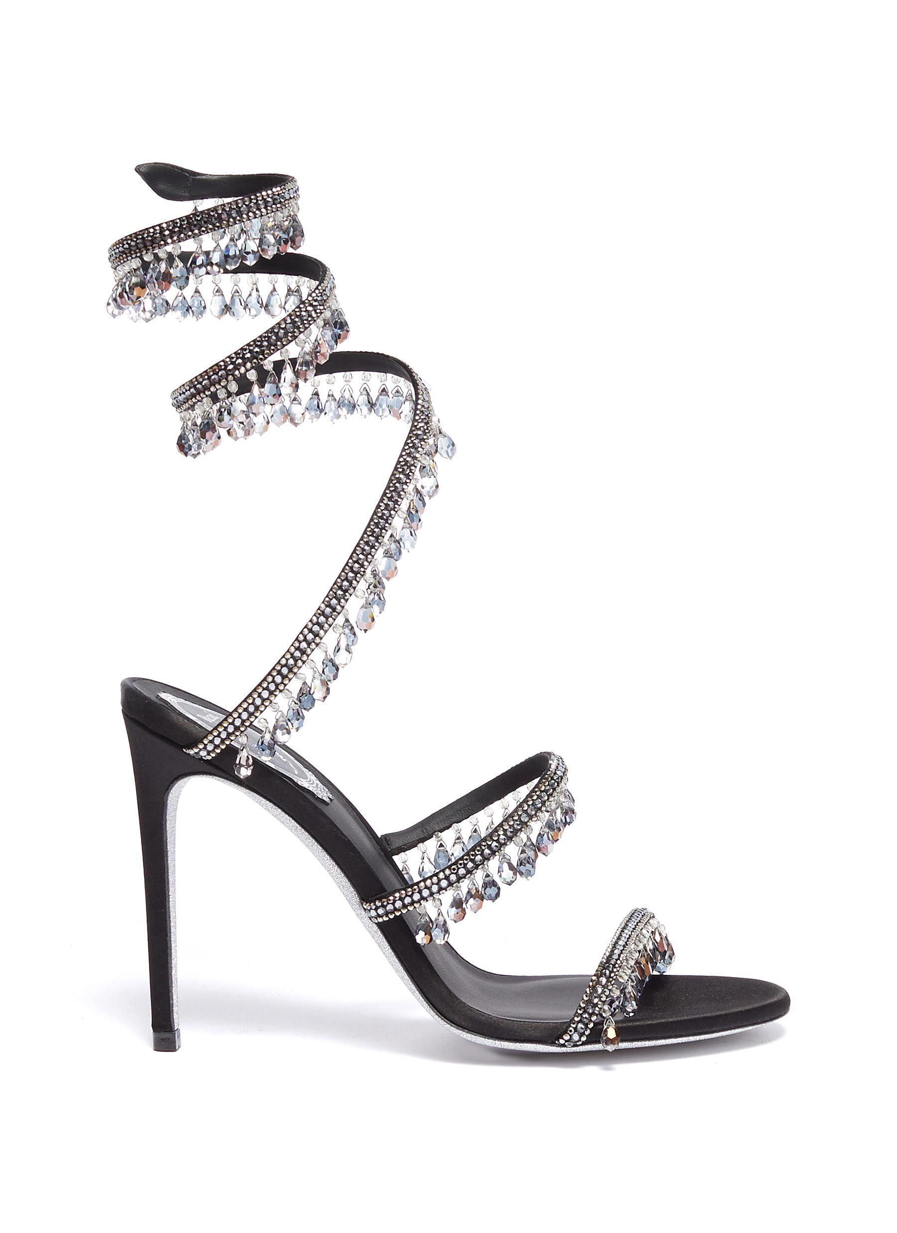 René Caovilla High Heels Cleo Chandelier strass fringe coil anklet satin sandals