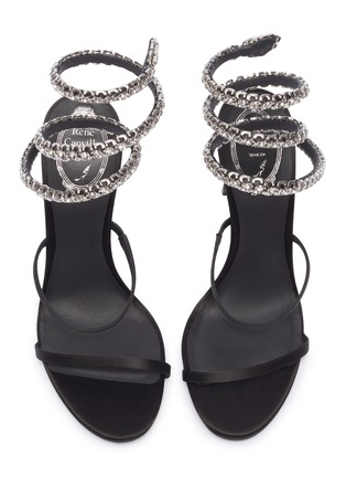 Detail View - Click To Enlarge - RENÉ CAOVILLA - 'Cleo 105' strass coil anklet satin sandals