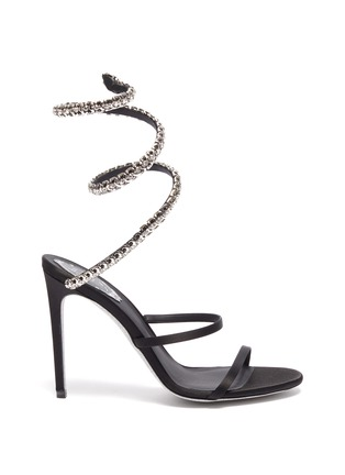 Main View - Click To Enlarge - RENÉ CAOVILLA - 'Cleo 105' strass coil anklet satin sandals