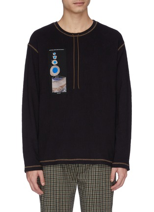 Main View - Click To Enlarge - ACNE STUDIOS - 'Erland' graphic appliqué ribbed long sleeve T-shirt