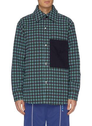 Contrast patch pocket gingham check shirt jacket