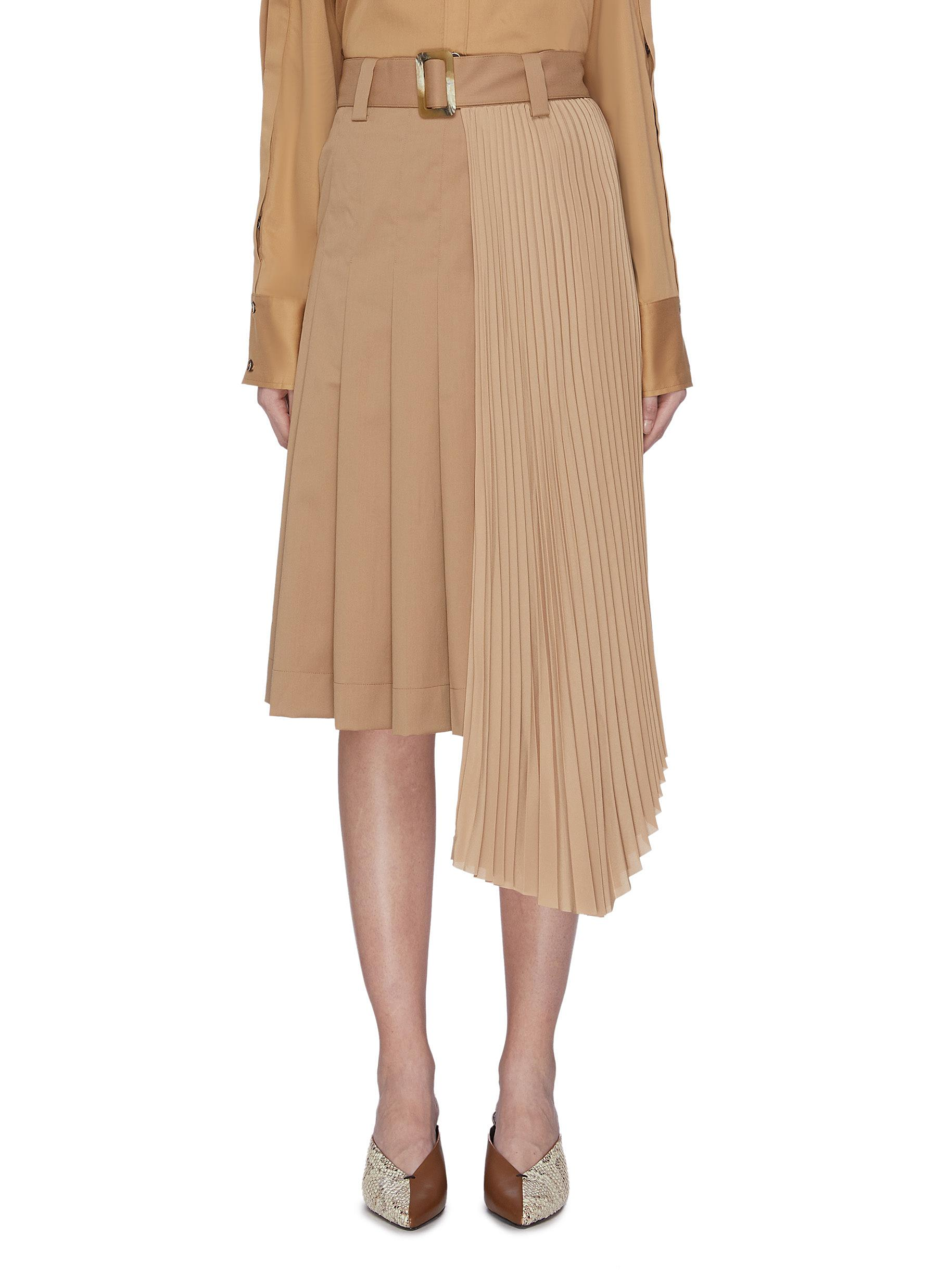 Belted asymmetric pleated skirt by Equil