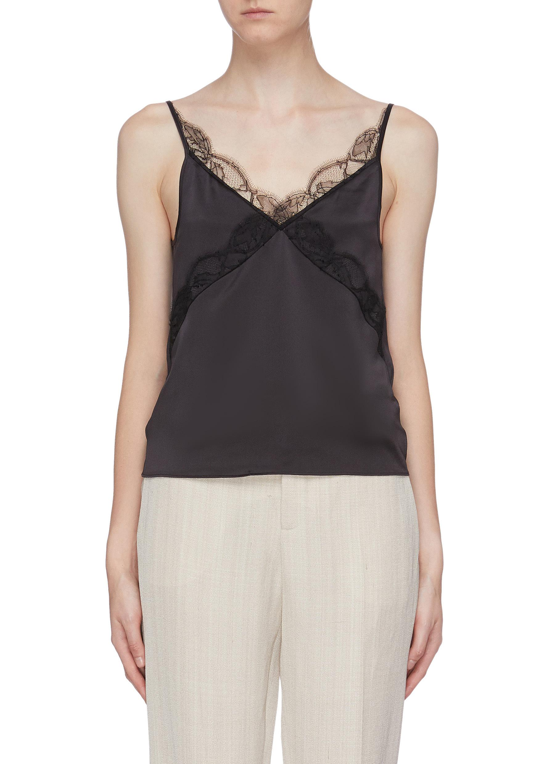 Lace trim silk camisole top by Equil