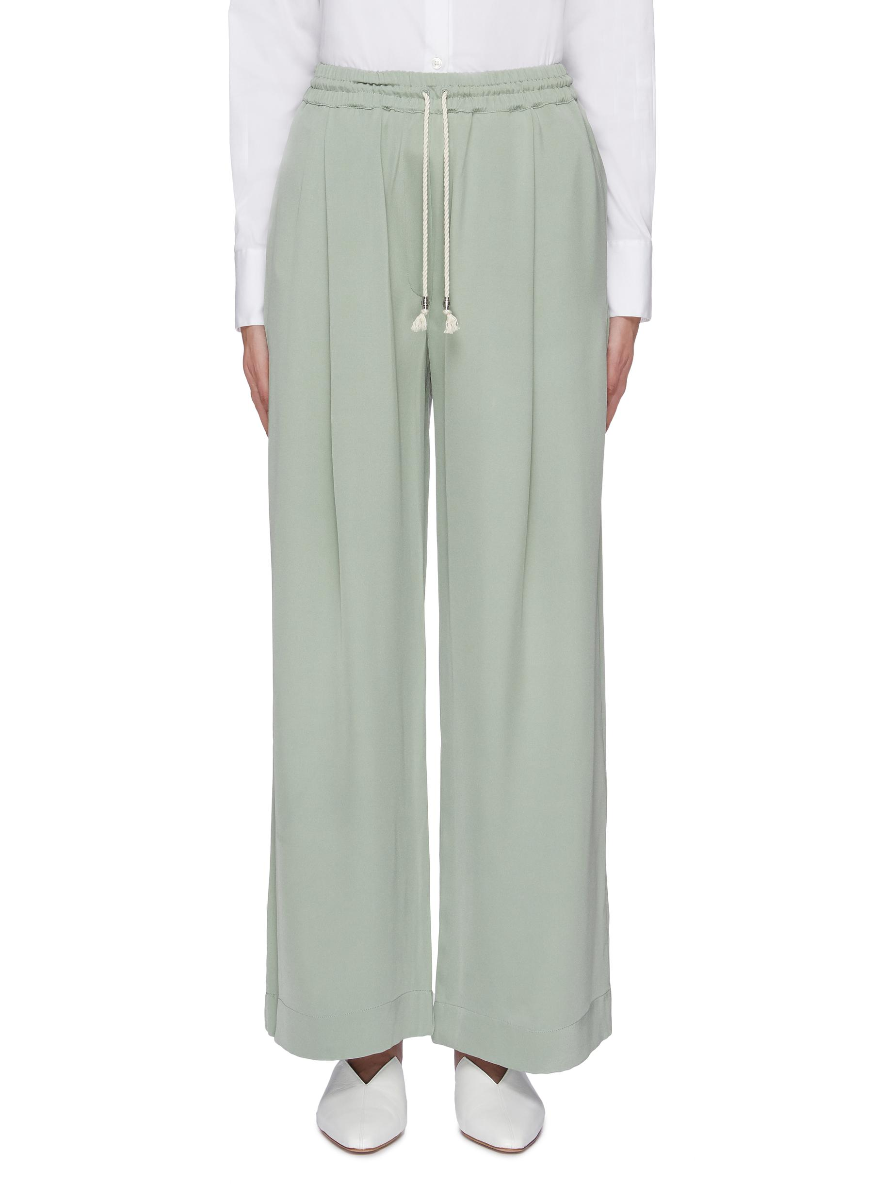 Silk drawstring wide leg pants by Equil