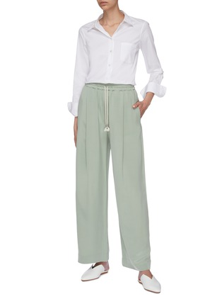 Figure View - Click To Enlarge - EQUIL - Silk drawstring wide leg pants