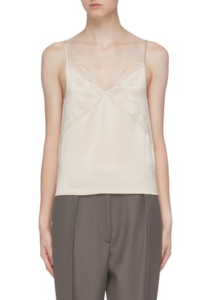 Main View - Click To Enlarge - EQUIL - Lace trim silk camisole top