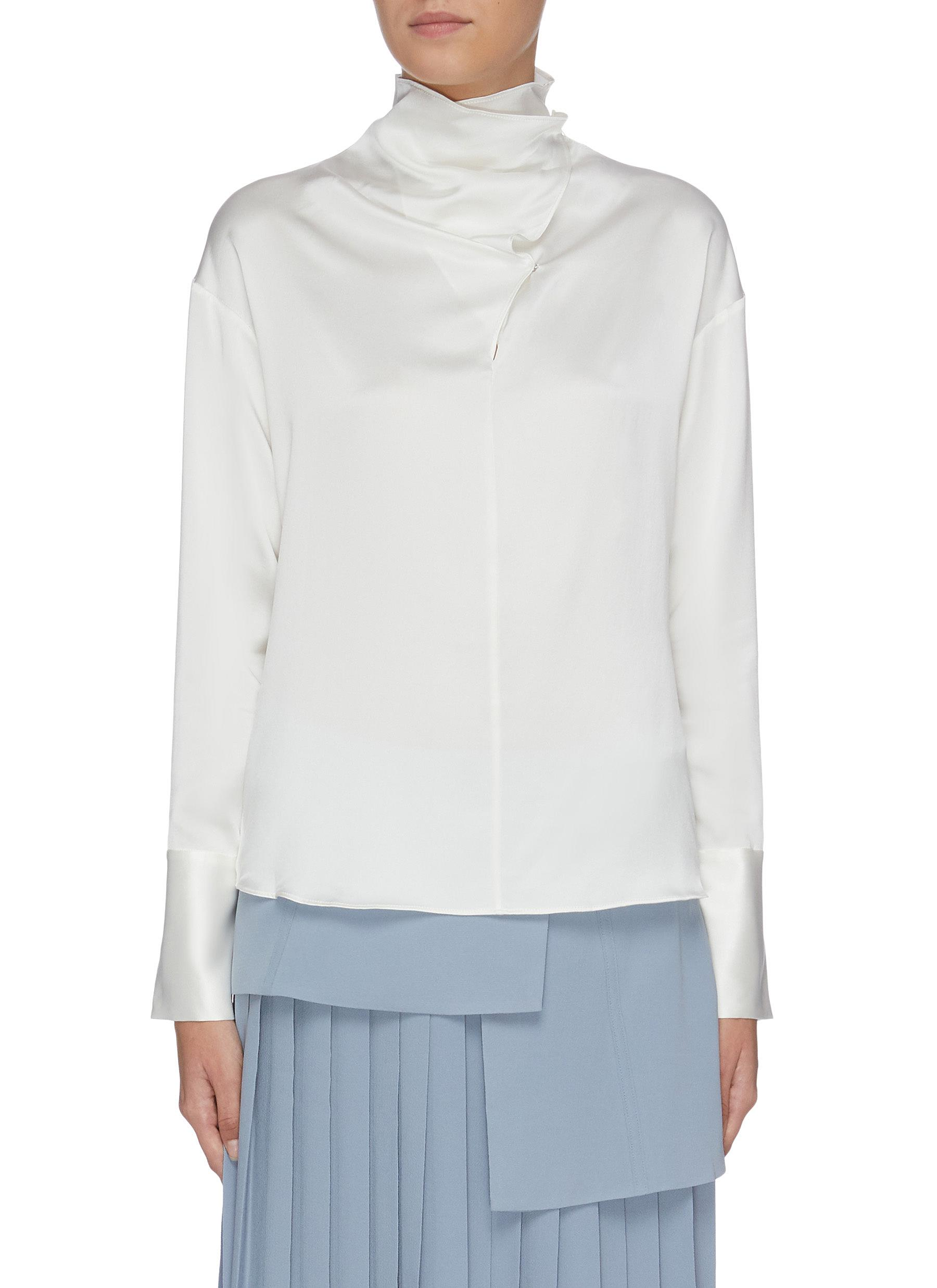 Folded collar mock neck top by Equil