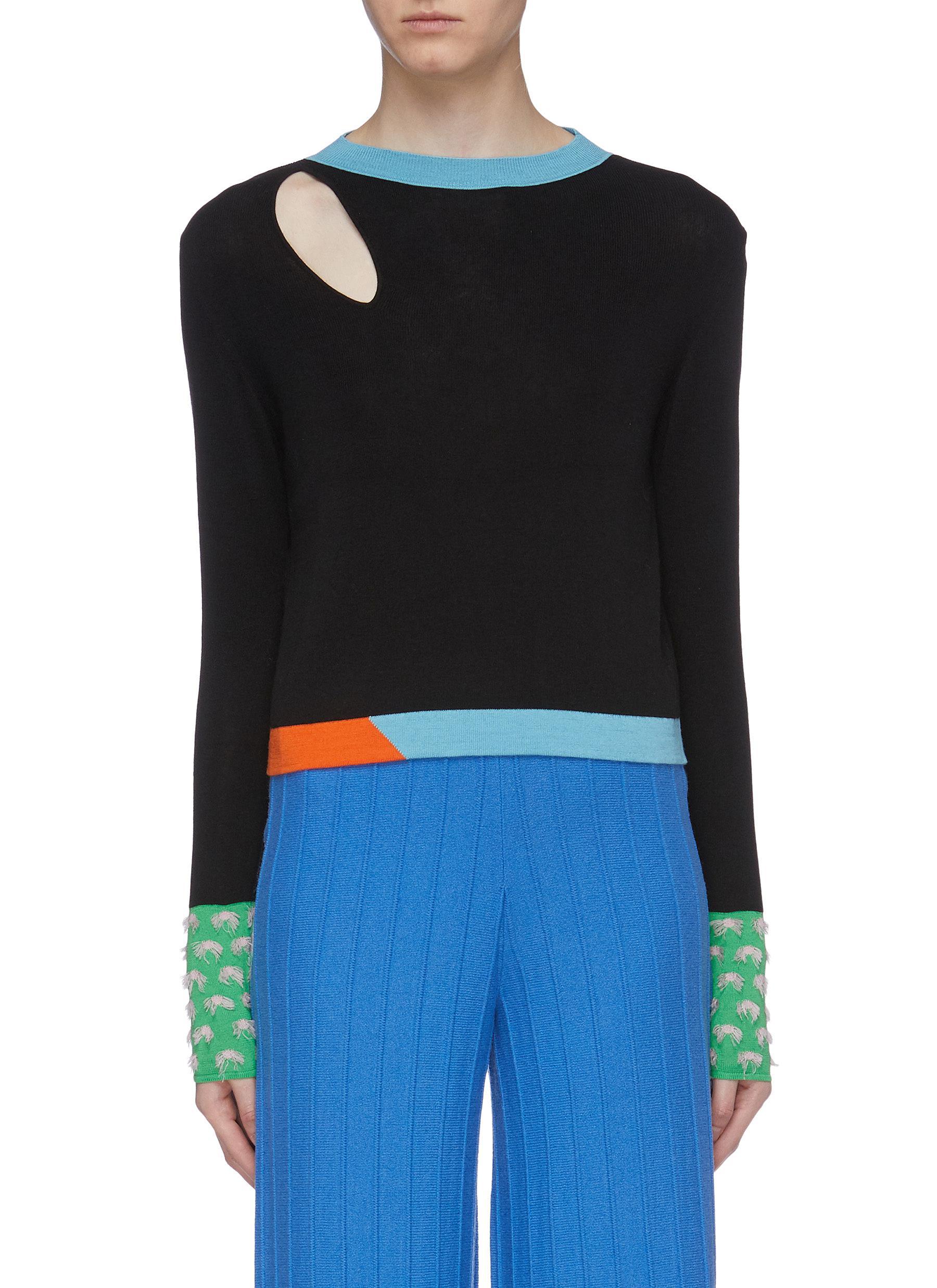 Cutout shoulder contrast cuff silk-cashmere sweater by I-Am-Chen