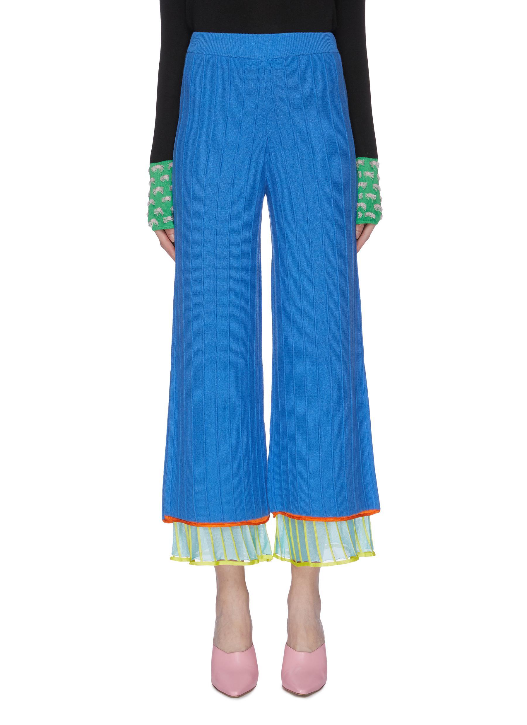 Layered cuff pleated Merino wool wide leg pants by I-Am-Chen