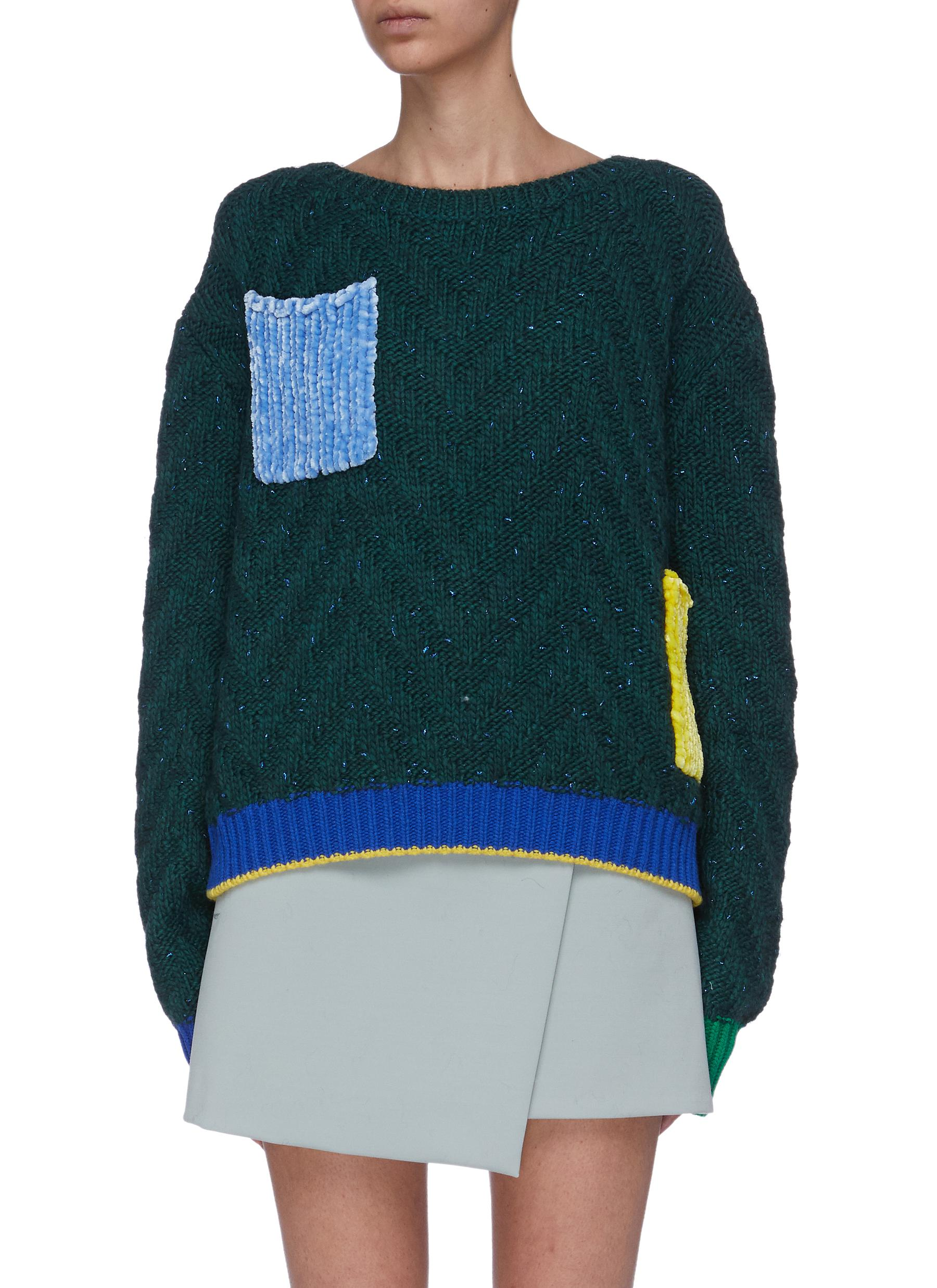 Contrast chenille patch pocket chevron knit sweater by I-Am-Chen