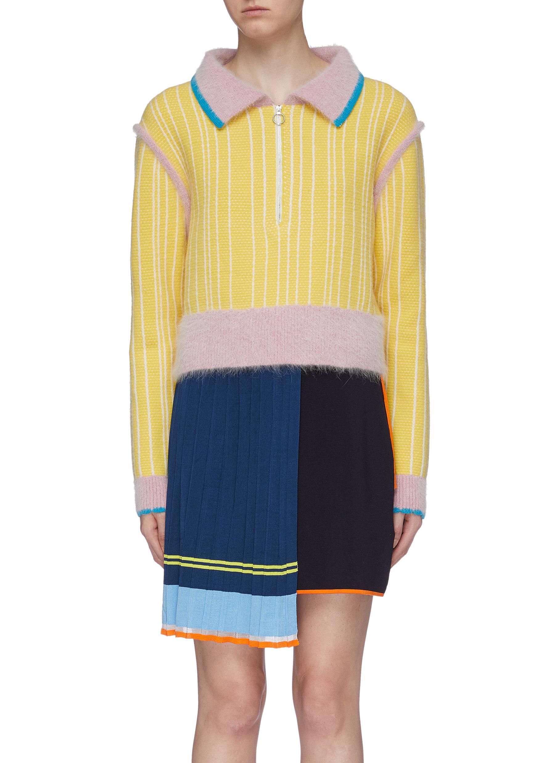 Stripe colourblock Merino wool polo sweater by I-Am-Chen