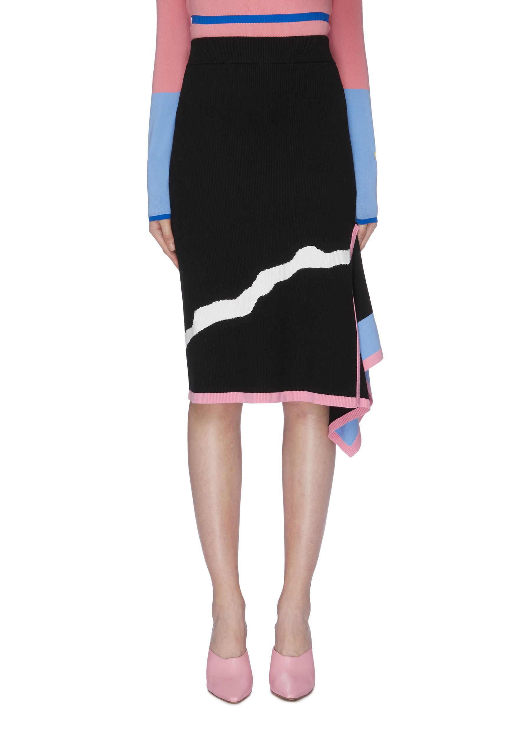 Abstract jacquard drape knit pencil skirt by I-Am-Chen