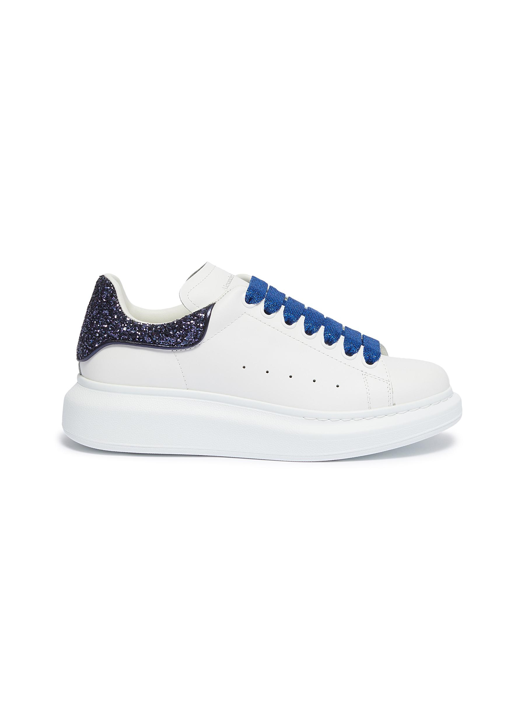 Oversized Sneaker in leather with coarse glitter collar by Alexander Mcqueen