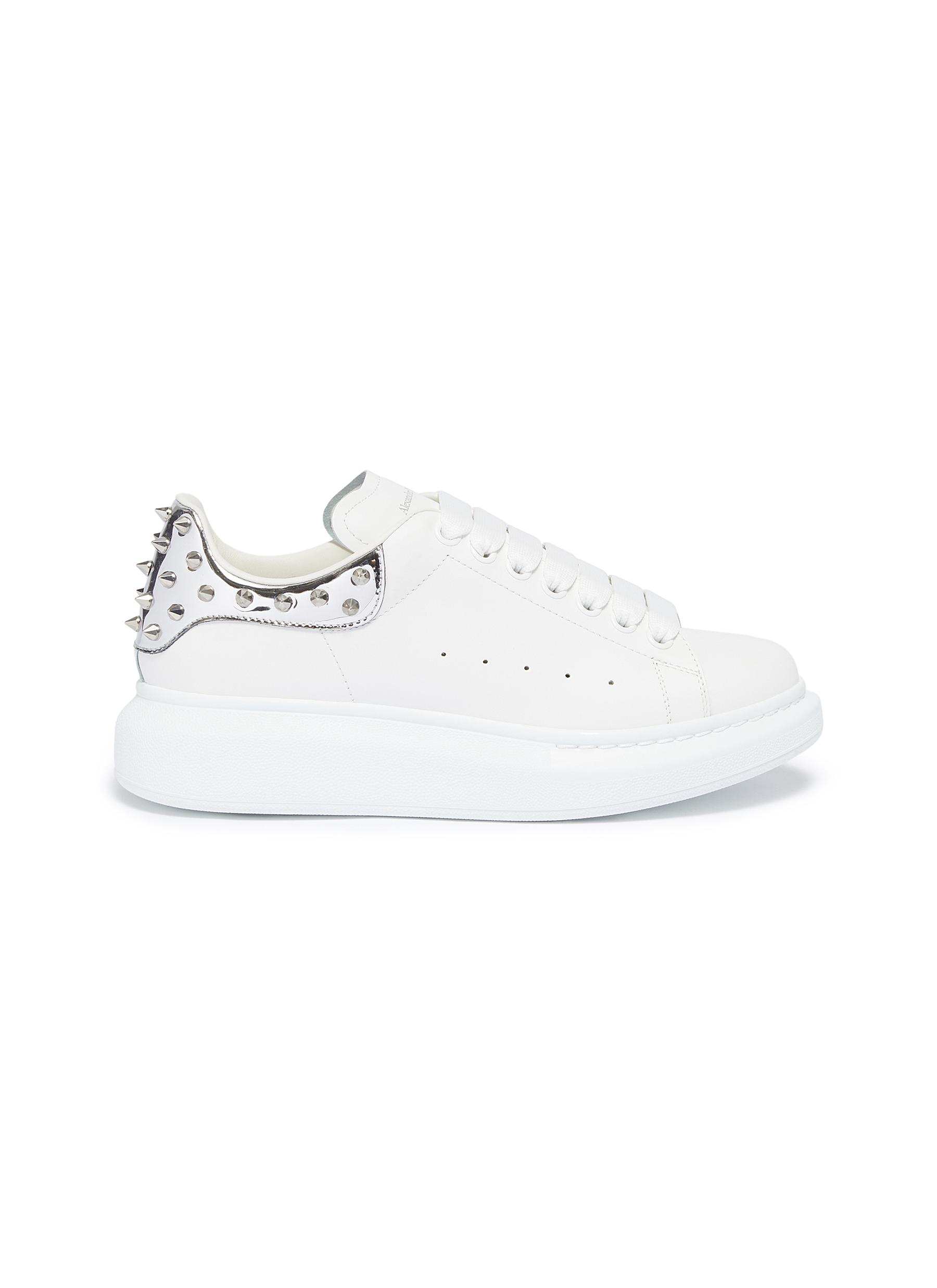 Oversized Sneaker in leather with stud mirror collar by Alexander Mcqueen
