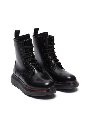 Detail View - Click To Enlarge - ALEXANDER MCQUEEN - 'Oversized Combat Boot' in leather