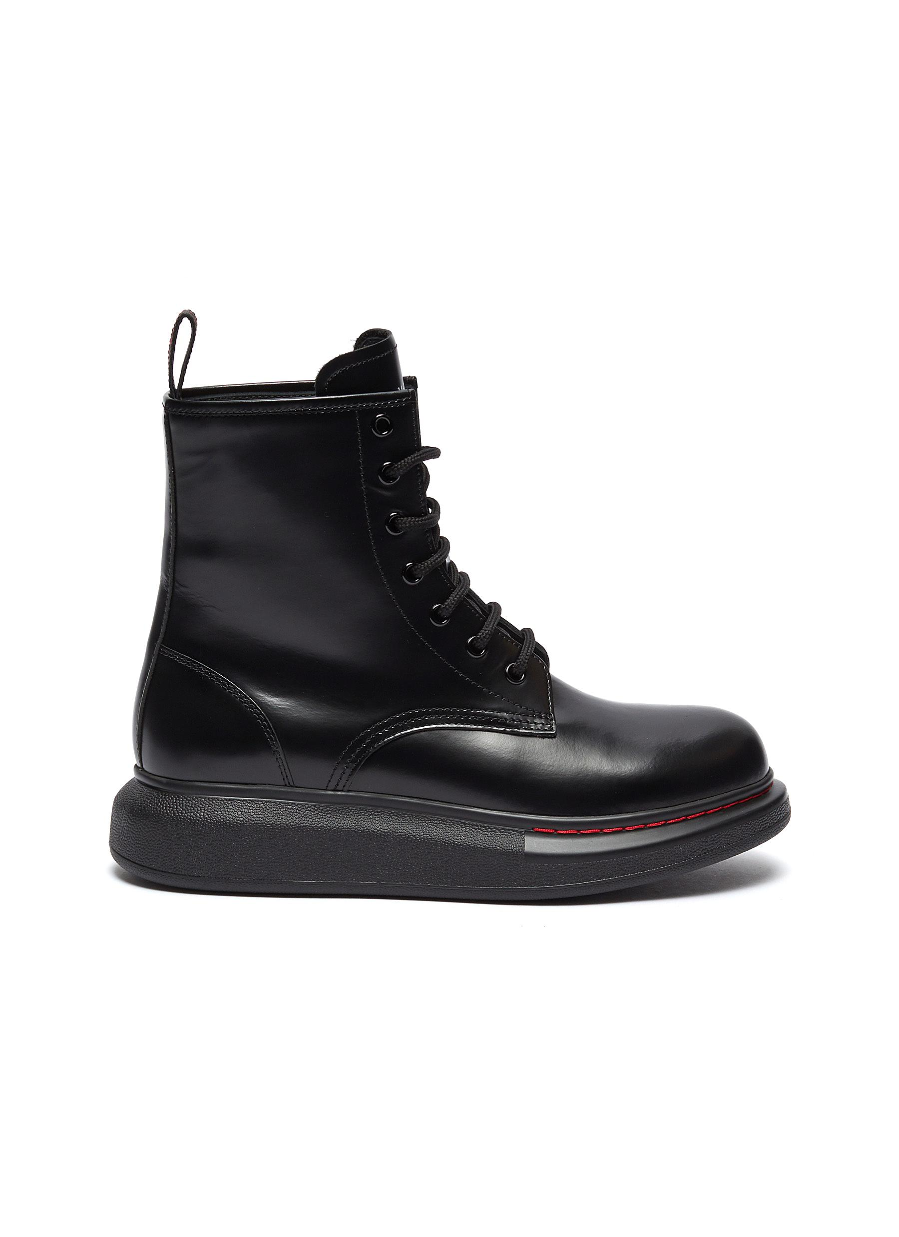 Oversized Combat Boot in leather by Alexander Mcqueen