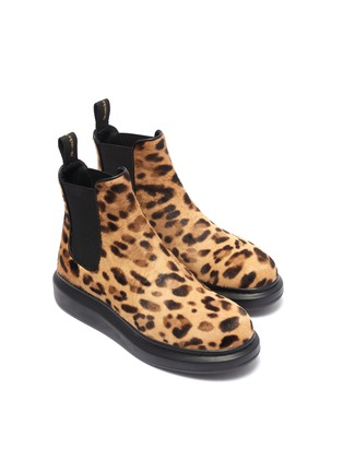 Detail View - Click To Enlarge - ALEXANDER MCQUEEN - Chunky outsole leopard print pony hair Chelsea boots