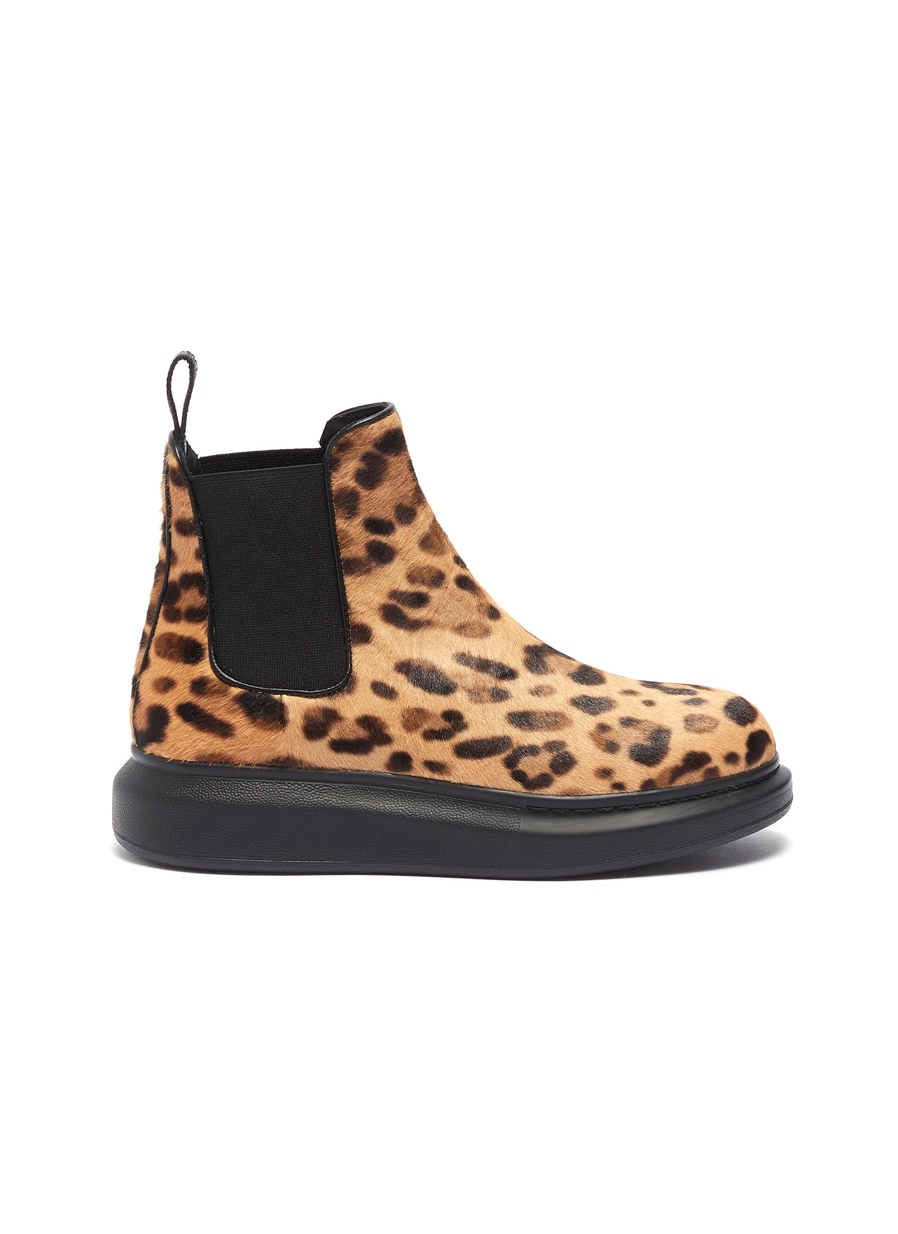 shop Alexander Mcqueen Chunky outsole leopard print pony hair Chelsea boots online