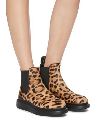 Figure View - Click To Enlarge - ALEXANDER MCQUEEN - Chunky outsole leopard print pony hair Chelsea boots