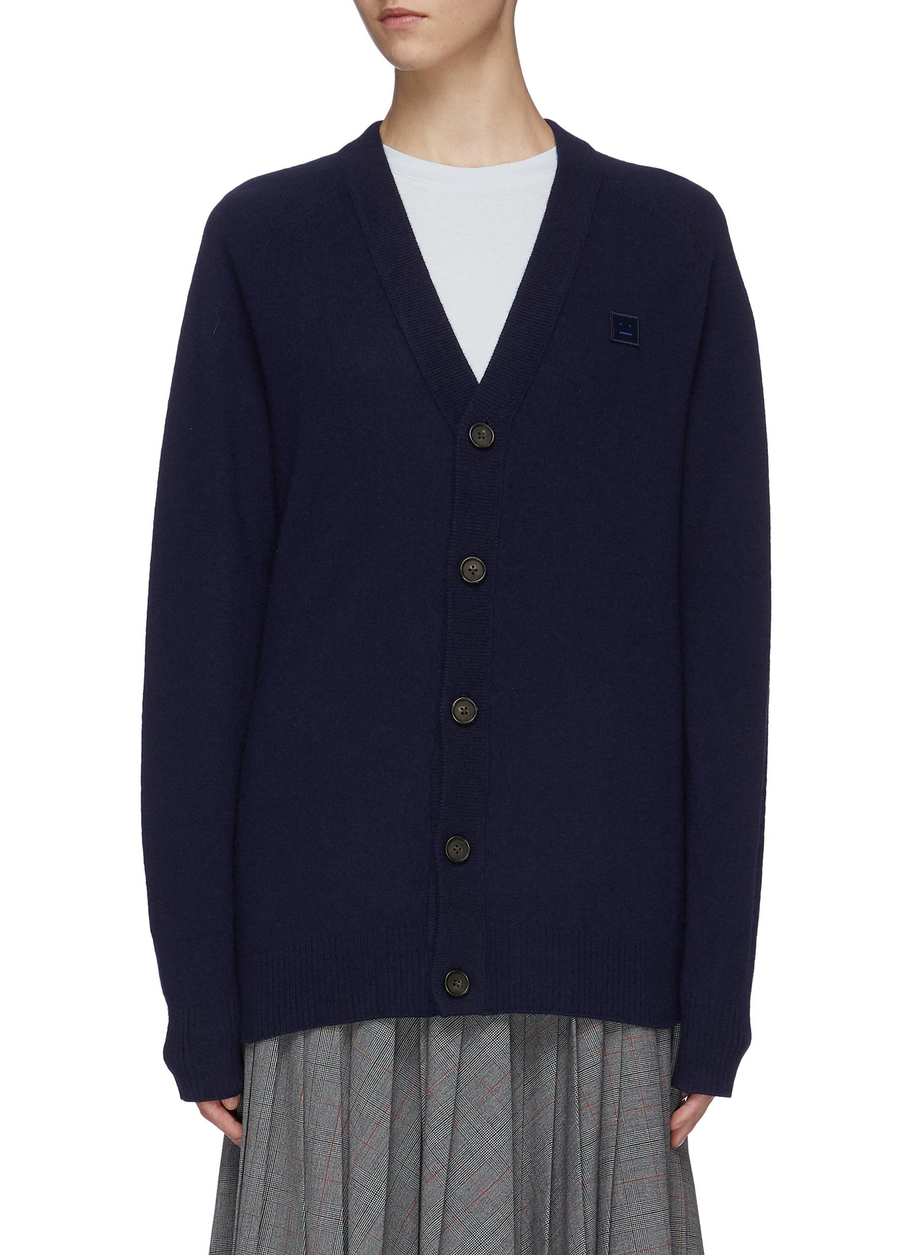 Face patch wool cardigan by Acne Studios