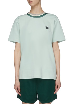 Main View - Click To Enlarge - ACNE STUDIOS - Face patch tie-dye effect rib collar T-shirt