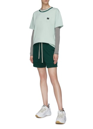 Figure View - Click To Enlarge - ACNE STUDIOS - Face patch tie-dye effect rib collar T-shirt