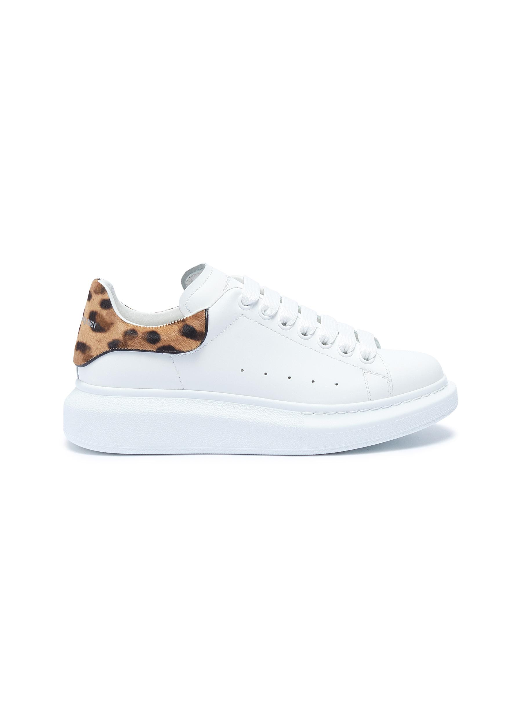 Oversized Sneakers in leather with leopard print ponyhair collar by Alexander Mcqueen