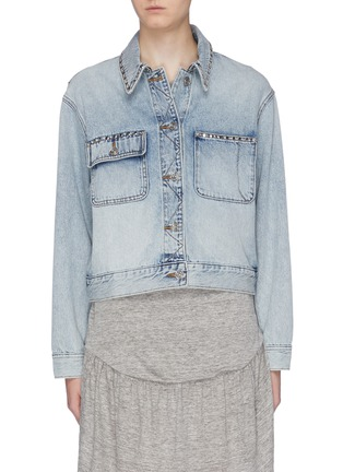 Main View - Click To Enlarge - CURRENT/ELLIOTT - 'The Sammy' studded denim jacket