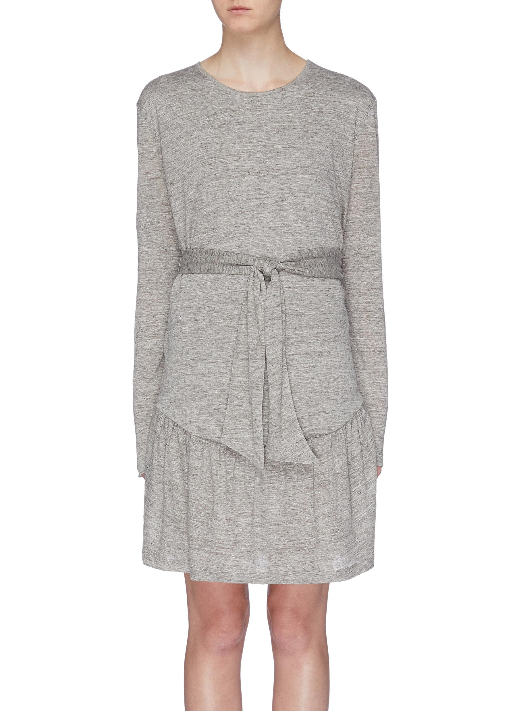 The Crystal belted ruched hem linen dress by Current/Elliott