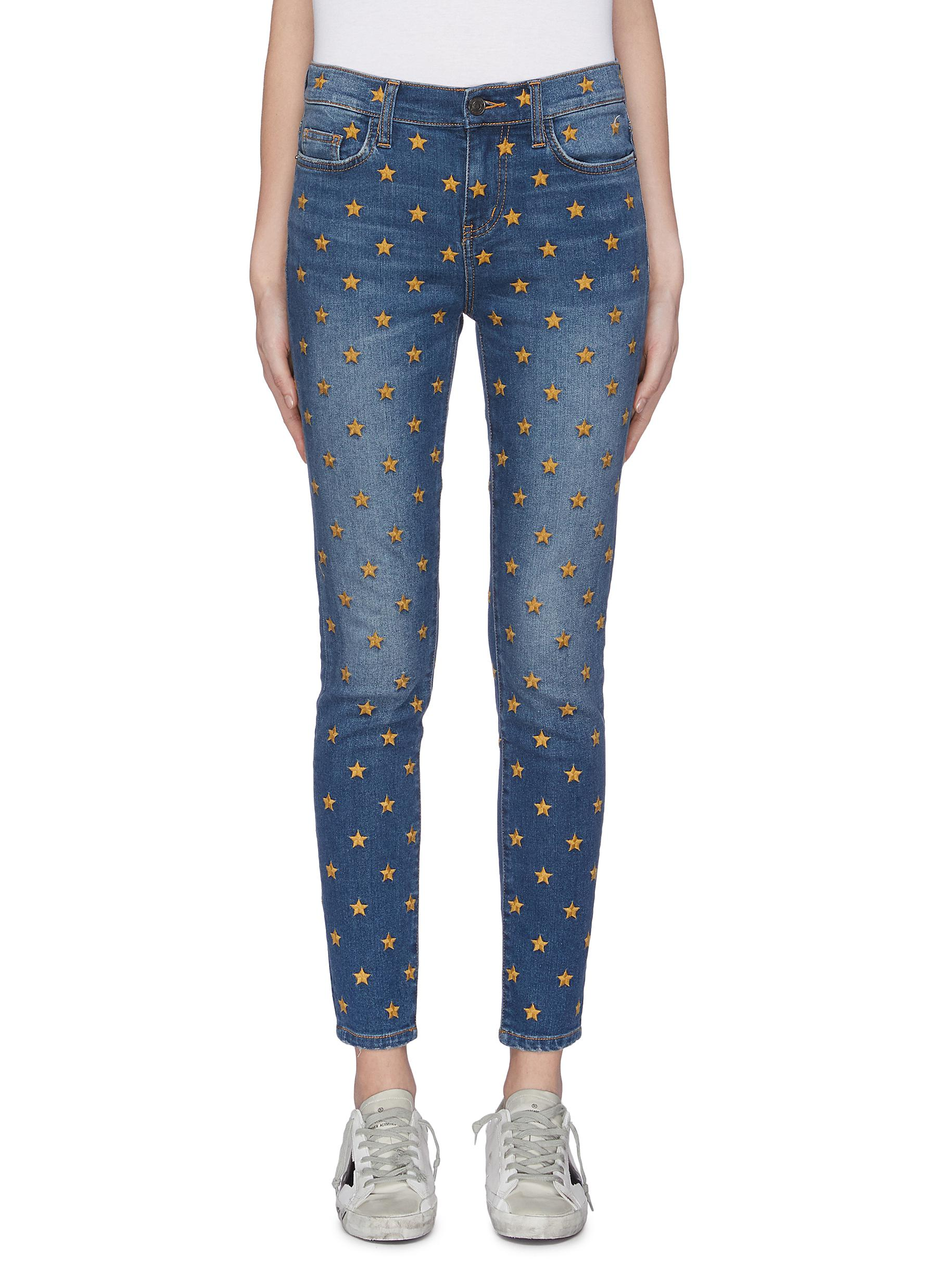 The Ankle Skinny Stiletto star embroidered jeans by Current/Elliott