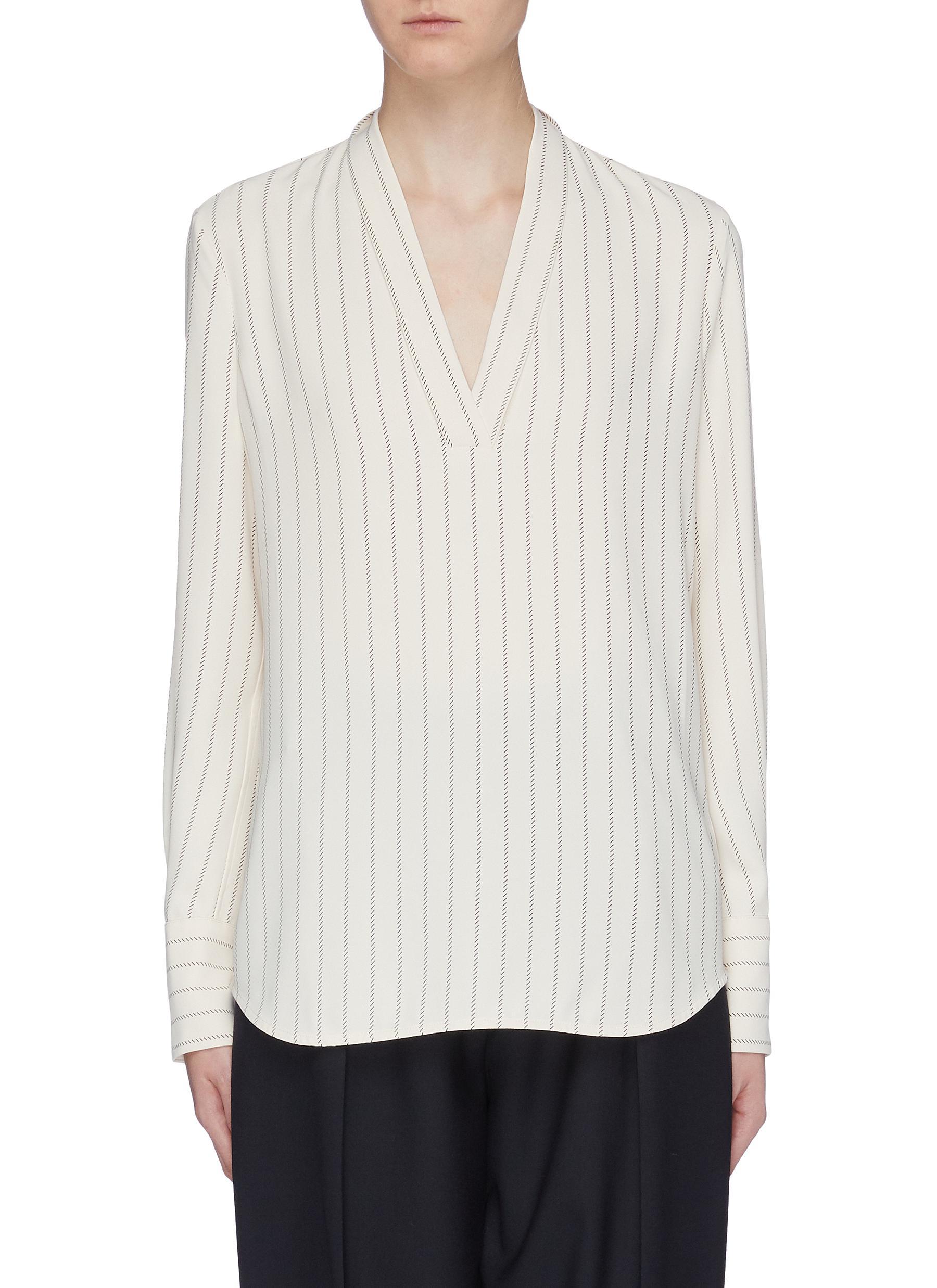 Charlina stripe V-neck blouse by Equipment