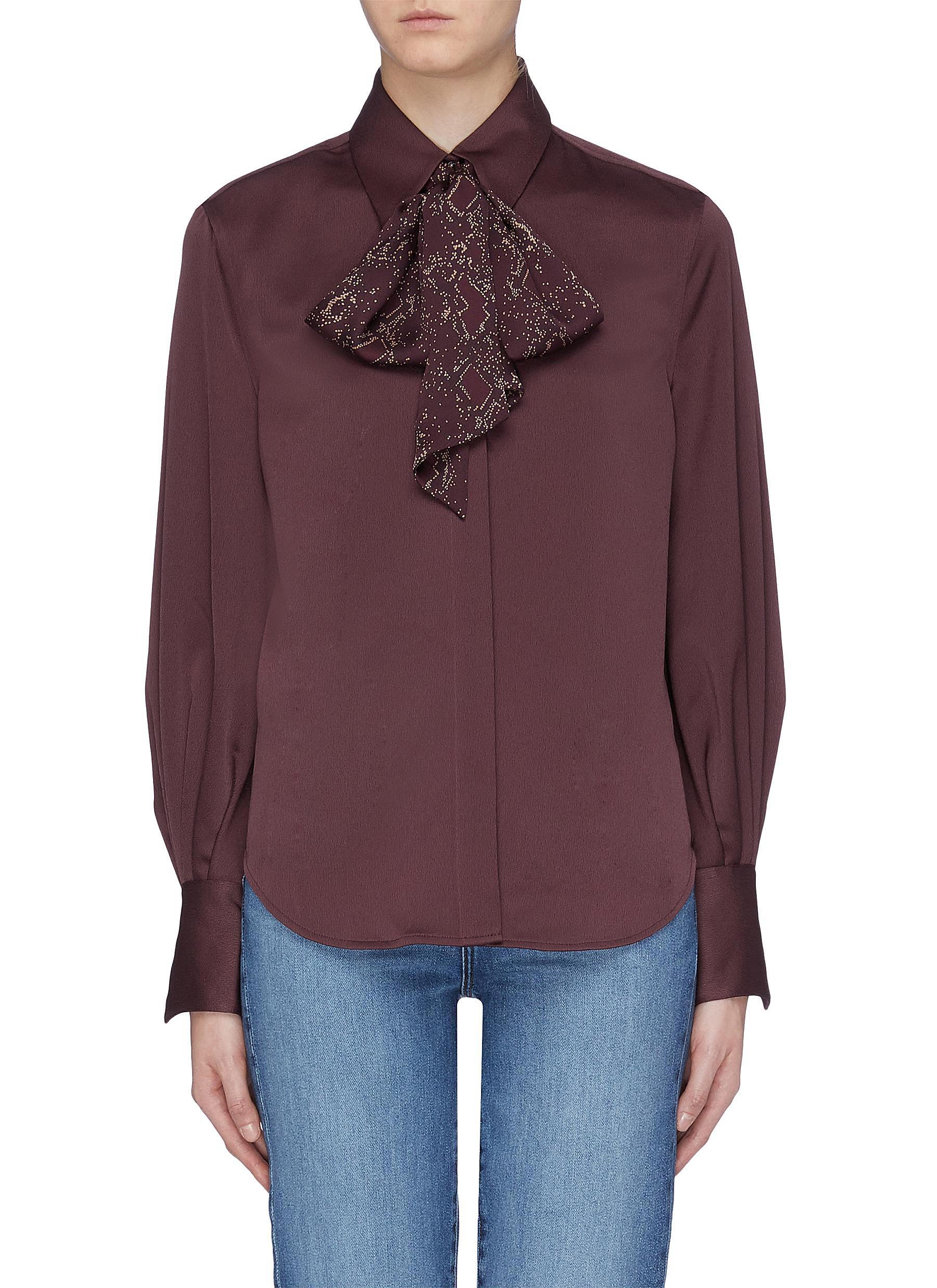 Didina sash scarf collar bishop sleeve shirt by Equipment