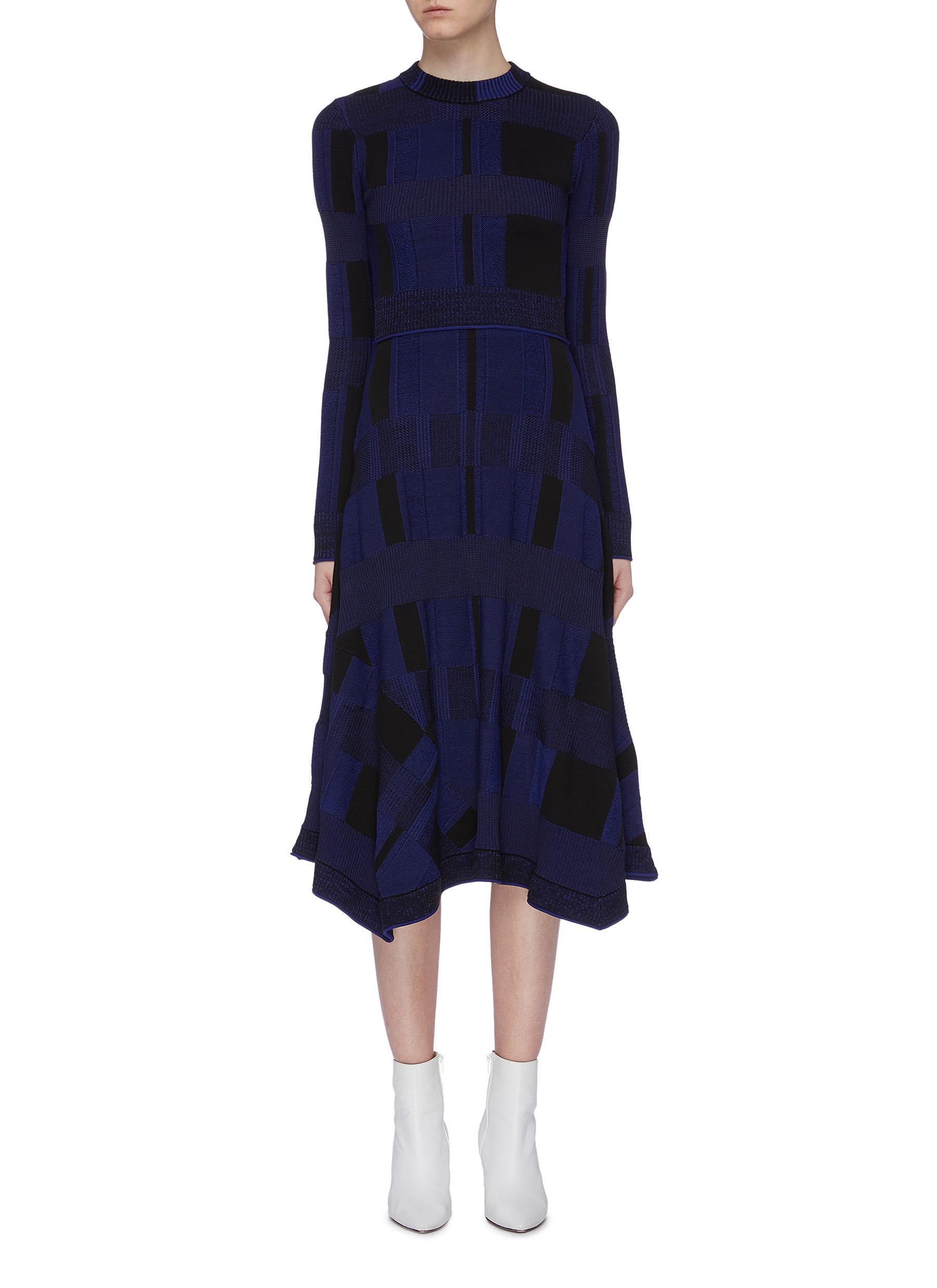 Geometric jacquard flared knit midi dress by Proenza Schouler