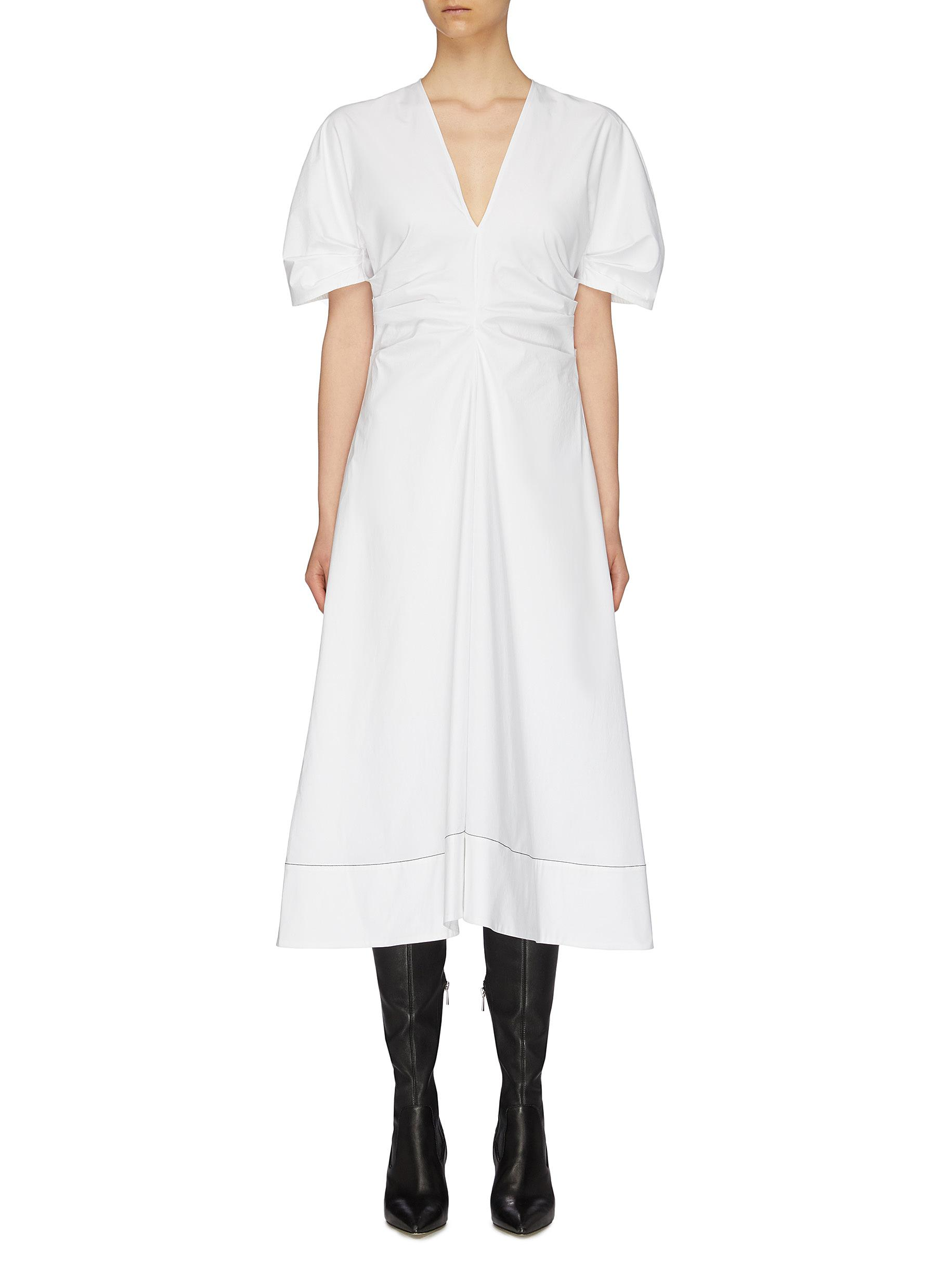 Puff sleeve ruched side V-neck dress by Proenza Schouler