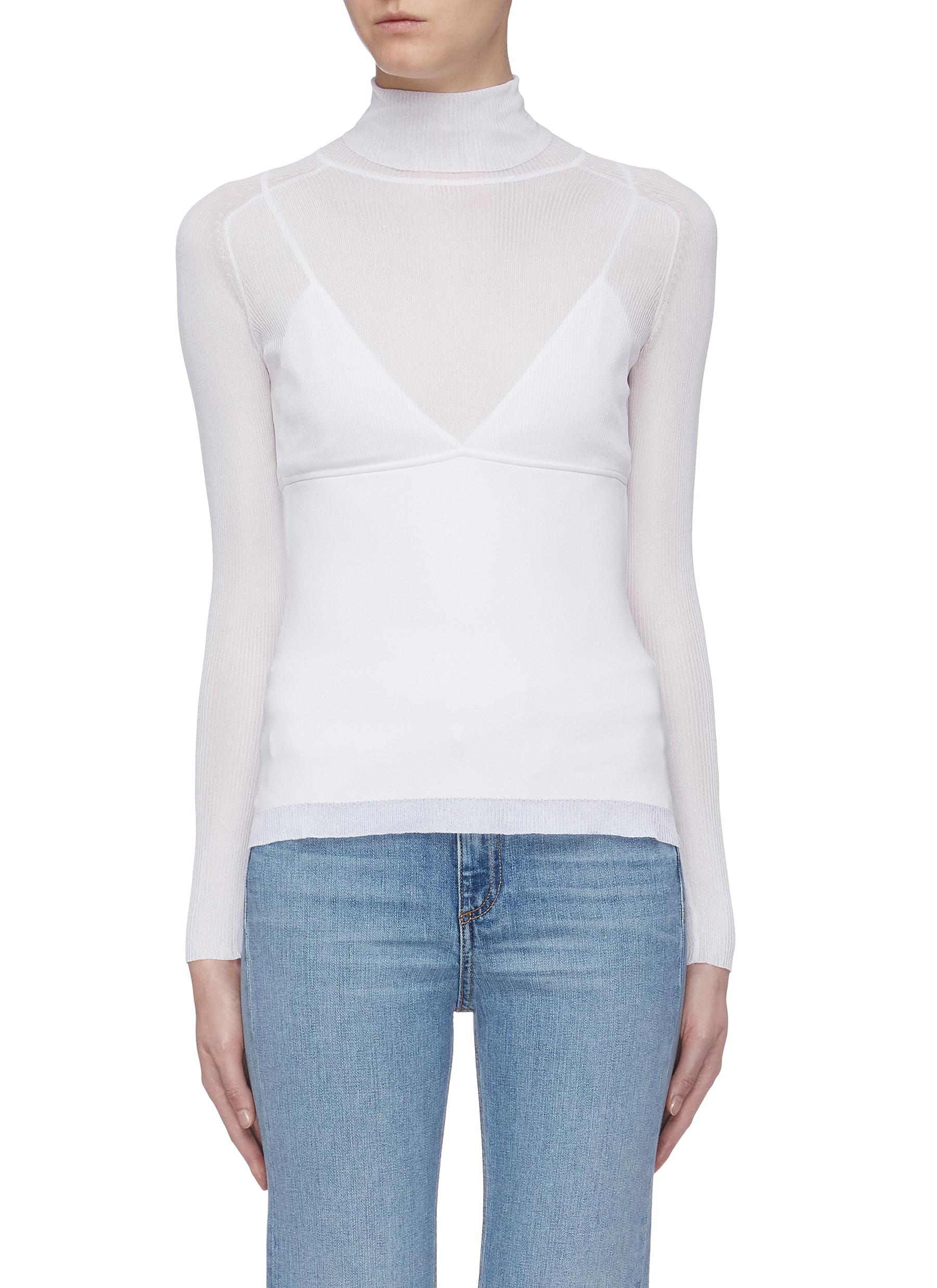 Camisole panel rib knit turtleneck top by Proenza Schouler