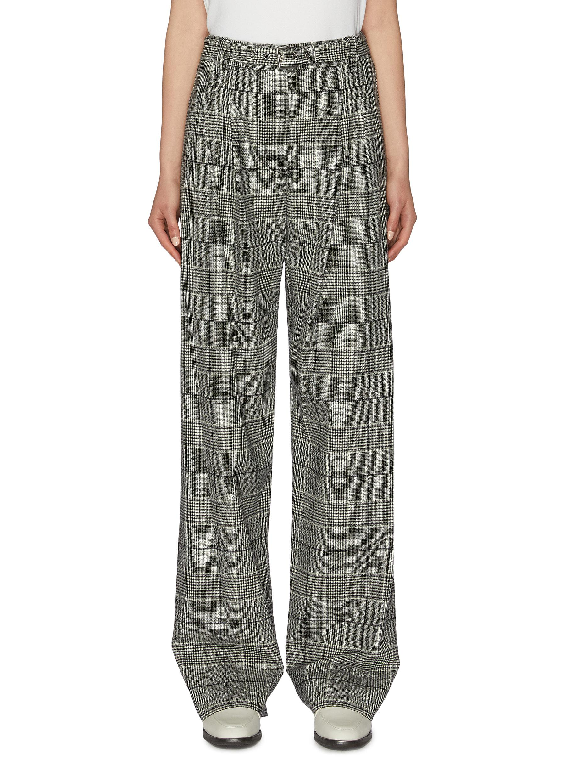Belted check plaid wide leg suiting pants by Proenza Schouler