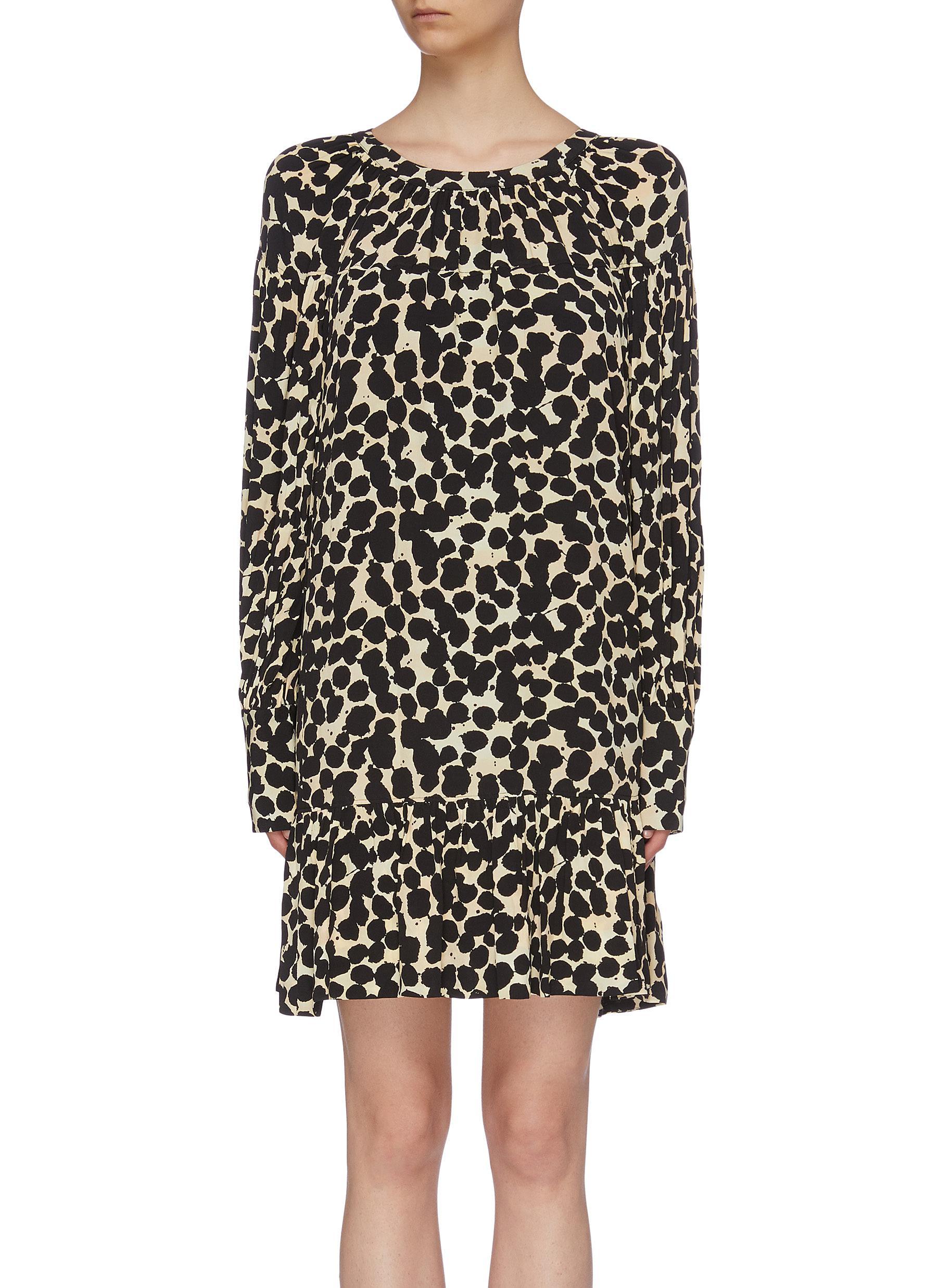 Tie cutout back dot print crepe mini dress by Proenza Schouler