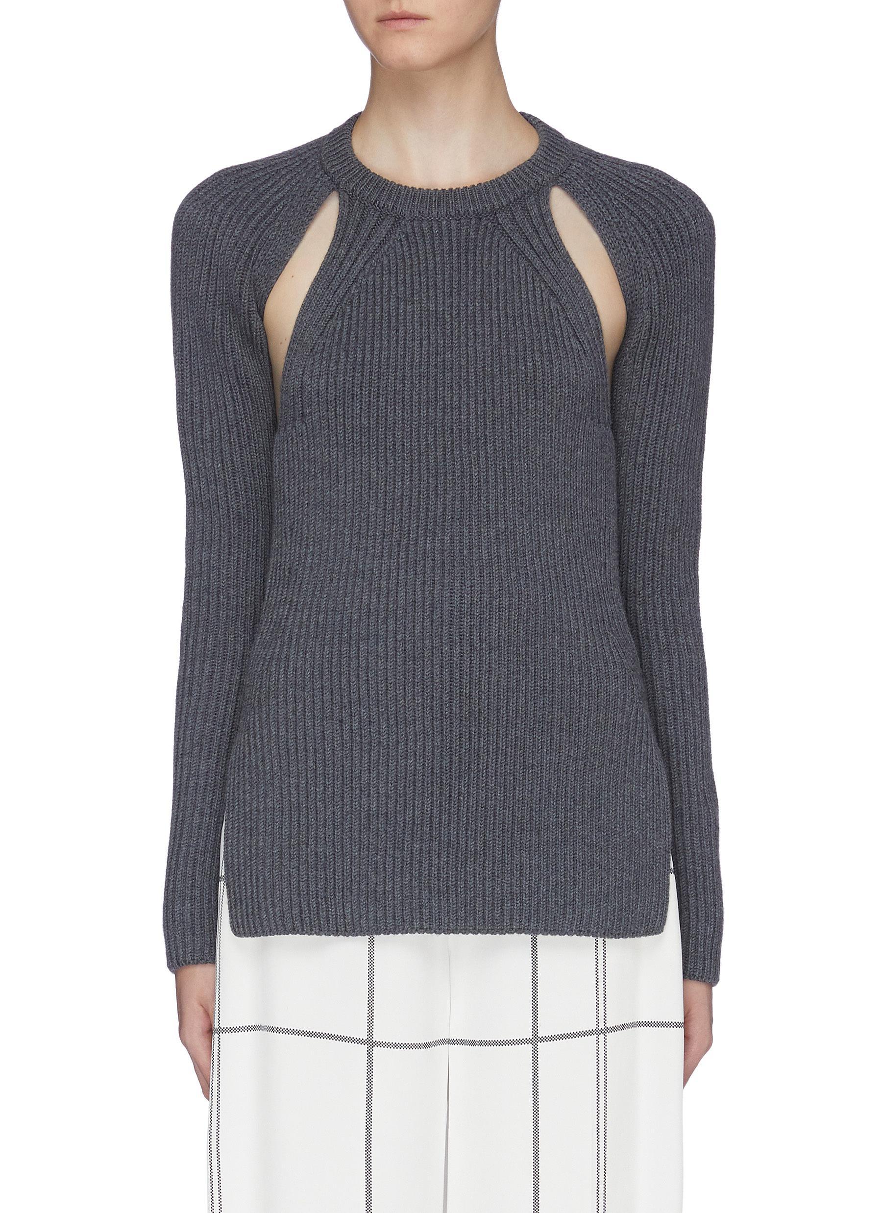 Open back cutout virgin wool rib knit sweater by Proenza Schouler