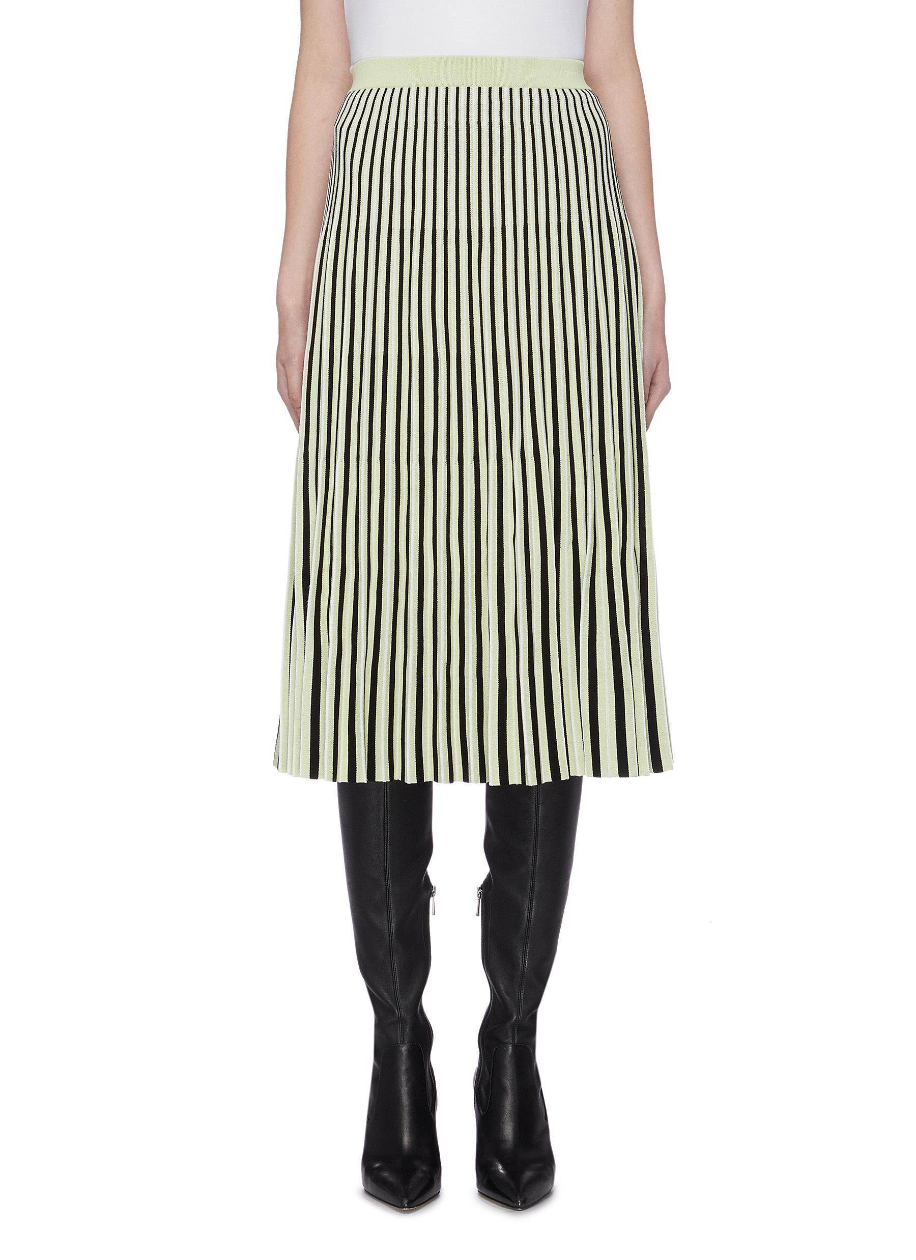Pleated stripe jacquard knit skirt by Proenza Schouler