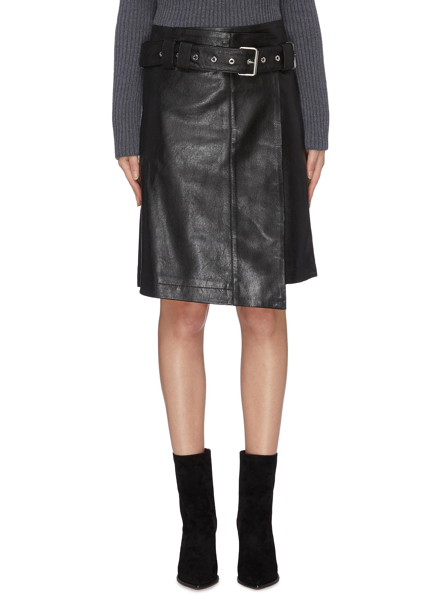 Belted asymmetric leather skirt by Proenza Schouler