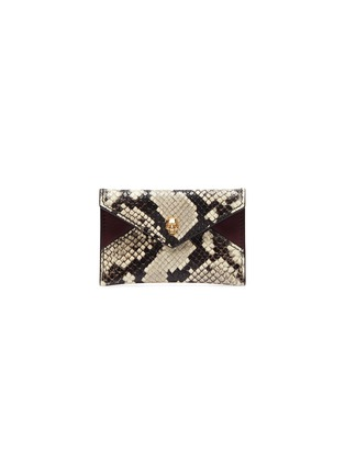 Main View - Click To Enlarge - ALEXANDER MCQUEEN - Skull python embossed leather envelope card holder