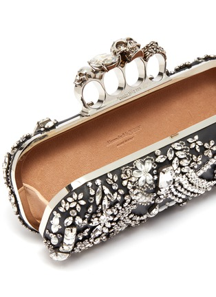 Detail View - Click To Enlarge - ALEXANDER MCQUEEN - Swarovski crystal jewelled leather knuckle clutch