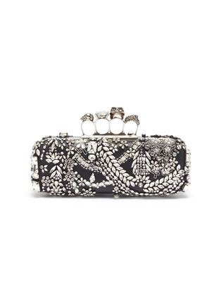 Main View - Click To Enlarge - ALEXANDER MCQUEEN - Swarovski crystal jewelled leather knuckle clutch