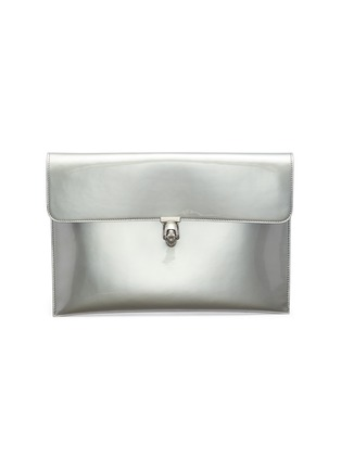Main View - Click To Enlarge - ALEXANDER MCQUEEN - Skull charm mirror leather envelope clutch