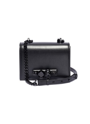 Main View - Click To Enlarge - ALEXANDER MCQUEEN - 'The Small Jewelled Satchel' in leather with Swarovski crystal knuckle