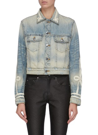 Main View - Click To Enlarge - AMIRI - Knot embroidered denim trucker jacket